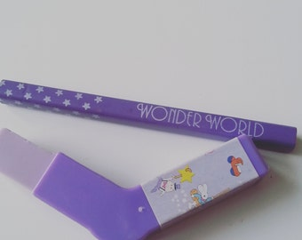 Vintage, 80s, 1980s,hockey stick, purple, pencil,  erasers, rubbers, wonderful world, gommi,  scented, by NewellsJewels on etsy