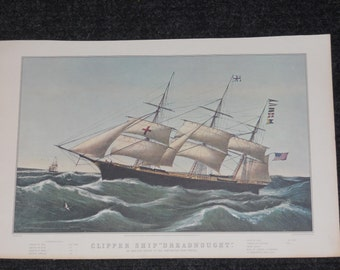 "Vintage Currier & Ives Calendar Print-Clipper Ship ""Dreadnought""-1966"