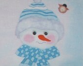 Blue Snowman With Chickadee Quilt Block  a Print Of My Hand Painted Design Spoonflower Print