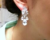 Wedding jewelry bridal earrings party prom gift christmas multi shape cluster cubic zirconia post multi teardrop bold statement earrings