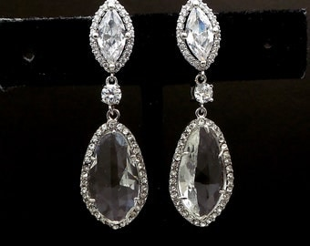wedding jewelry wedding earrings bridal earrings Clear white teardrop AAA cubic zirconia and clear quartz crystal on marquise cz post