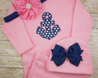 Baby girl coming home outfit, infant baby gown, personalized, name, hat, bring home outfit, Anchor, Nautical, pink, Navy Blue, hospital gown
