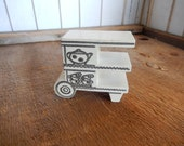 Vintage Wooden Dollhouse Tea Cart Strombecker White Wood Retro Patina