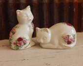 Vintage Cat Salt and Pepper Shakers Shabby Roses Kitchen Decor Cottage Style