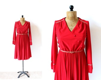 vintage dress 70's red folk trim rosette long sleeve 1970's women's clothing size s m small medium