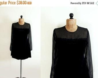 50% OFF SALE vintage dress 80s party black see through velvet mini 1980s womens clothing size m medium