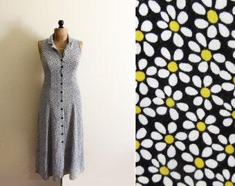 vintage dress maxi daisy print grunge 1990s clothing atomic sleeveless size small s medium m