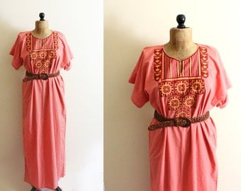 vintage dress maxi coral peach 70s indian tunic embroidered geometric hippie bohemian womens 1970s clothing size small s medium m