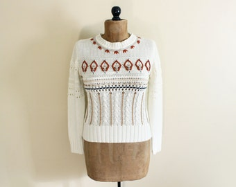 vintage sweater 1960s geometric autumn leaf striped ivory size extra small xs small s