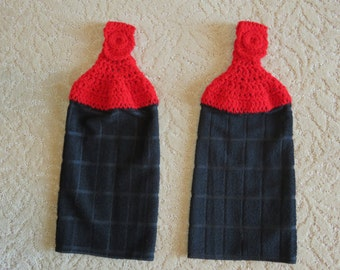 Crocheted Topped Hanging Kitchen Towels:  Black Microfiber towels- with white red toppers-Gift Idea