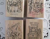 RUBBER STAMPS Used Stampin' Up 4 stamps- mouse, mice, get well, miss you, friend, celebrate
