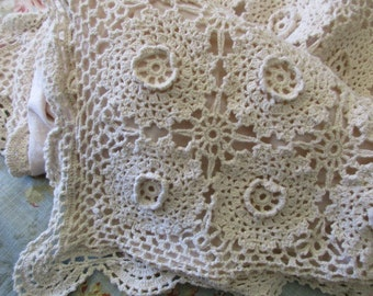 cream crocheted PILLOW SHAM - standard, ecru, beige, cotton