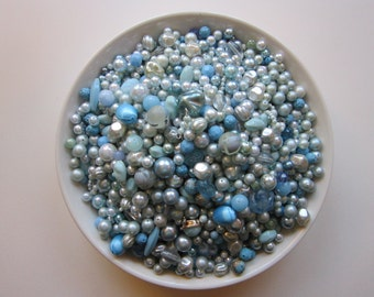 vintage bead mix - BLUE mix - 4 cups, vintage beads - vintage plastic beads, salvaged beads