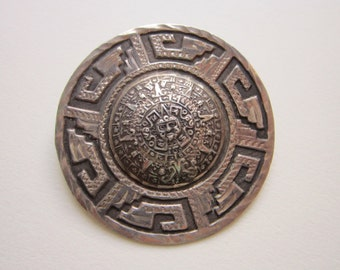 vintage Mexico sterling brooch pendant - Mayan Calendar - eagle 23 mark - 925 silver - 1.75 inches
