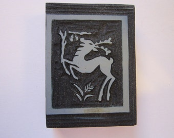 vintage carved linoleum printing block - DEER with branch and acorns - vintage handmade - print block