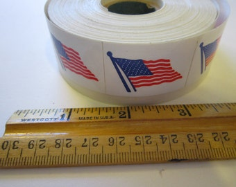 450 stickers - USA flag - full roll - 1 x 1.5 inch pressure sensitive adhesive back stickers