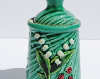 Vintage German Lily of the Valley Majolica Jam Jar with Spoon Lid - Majolica, German Majolica, Serving Pieces, Lily of the Valley