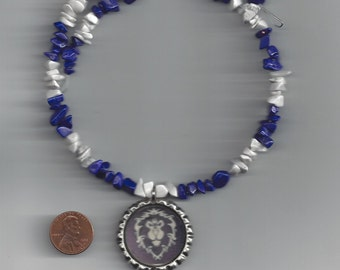 Warcraft Inspired Alliance Symbol Memory Wire Necklace - Half White and Half Dark Blue Howlite - FREE USA SHIPPING