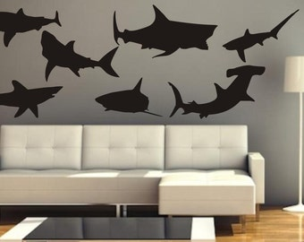 SALE Vinyl decal large swimming sharks