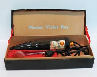 C 1920s / 1930s Master Violet Ray Violet Wand w/ Original Box & Head - Working Bakelite