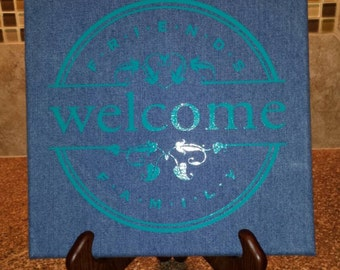 Pretty Denim Canvas Welcome