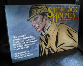 Vintage Over Sized Paperback Comic Strip Adventures Book, 6 Complete Illustrated Sherlock Holmes Stories