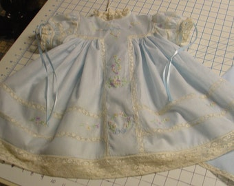 Heirloom dress size 18 months blue/ecru hand embroidery with slip birthday holiday portrait