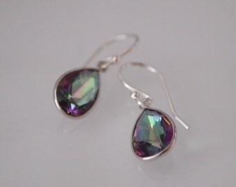 Mystic Topaz Silver Bezel Teardrop Earrings, Mystic Topaz Earrings, Mystic Topaz Dangle Earrings, Mystic Topaz Jewelry