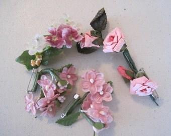 FREE SHIP Lot of Vintage Millinery Frabric Flowers Pink Mauve Corsage Appliqué Trim