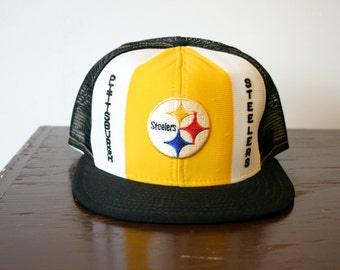 Vintage Black Pittsburgh Steelers Pennsylvania Football Snapback Trucker Hat
