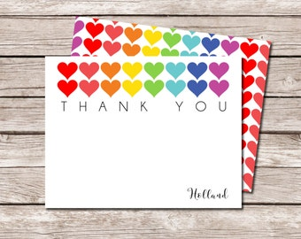 Rainbow Heart Thank You Note Card - DIGITAL FILE