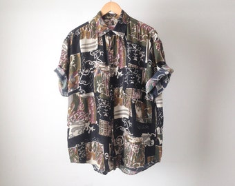 VERSACE style 90s SILK seinfeld KRAMER button up shirt