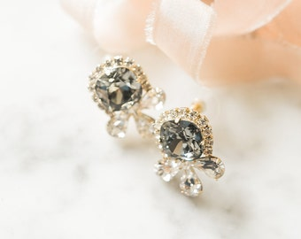 Swarovski Crystal Bridal Earrings- Crystal Stud Earrings- Rhinestone, Bridal Statement Earrings