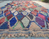 FREE SHIPPING!!! BOHO Chic Rug Vintage Moroccan Boucherouite in Multi Colors with Harlequin Patterns (Los Angeles)