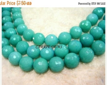 30% OFF SALE Green Quartz 14mm Faceted Round Beads