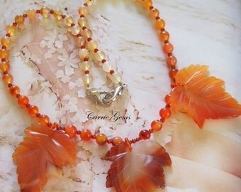 20% OFF ON SALE Carnelian Leaf Necklace