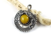 Amber pendant, wire wrapped jewelry, gemstone small pendant, sterling silver jewelry