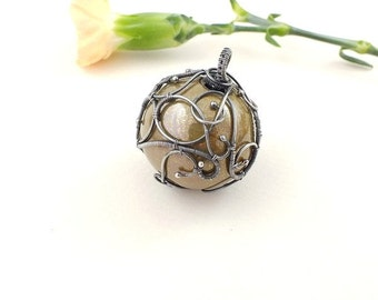 SALE Wire wrap necklace, ceramic ball necklace, beige necklace, sterling silver jewelry