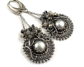 Wire wrapped earring, retro romantic earring, long pearl earring, silver gray earring - MADE TO ORDER