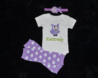 Personalized Baby Girl Purple Polka Dot owl Home Coming gift set