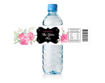 Water Bottle Label, Watercolor Roses, Elegant, Cheers to the, Future Mrs, Pink Roses, Bridal Shower, Bachelorette Party, Instand Download