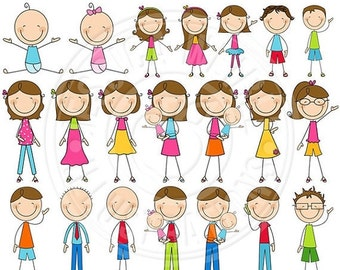 SALE BRUNETTE We Are Family Stick Figures Cute Digital Clip Art - Commercial Use OK - Stick Figure Family Graphics
