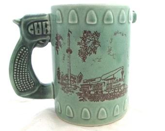 Gun Handle Hershey Park Mug, Vintage Souvenir in Light Green and Brown (F3)