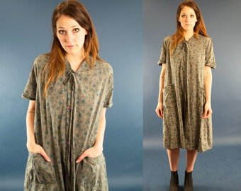 RILEY 60s Forest Green Floral Teal Earthy Slouchy Cotton Retro Casual Button Up House Coat Mu Mu Dress Medium M