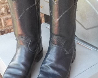 Reduced Vintage Leather Women's Navy Blue Justin Boots Size 7E