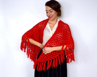 60s Red Crochet Shawl | Piano Scarf | Bright Red Wrap with Fringe