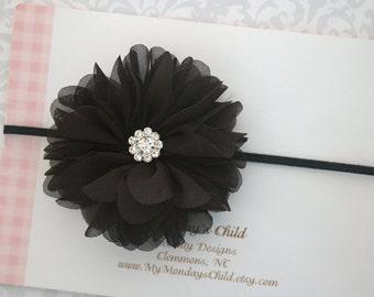 Black Baby Headband, Black Headband, Black Flower Headband, Baby Flower Headband, Baby Headband, Newborn Headband, Toddler Headband