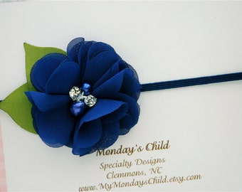Navy Blue Baby Headband, Navy Blue Flower Headband, Navy Blue Headband, Navy Baby Headband, Newborn Headband, Baby Headband Toddler Headband