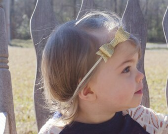 Gold Bow Headband, Gold Baby Bow, Gold Baby Bow Headband, Gold Bow, Gold Baby Headband, Mini Bow Headband, Glitter Bow Baby Headband Toddler