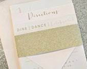 Bronson Wedding Invitation Suite with GLITTER GOLD Belly Band - Champagne Gold, Blush Pink, Ivory (colors/text customizable)